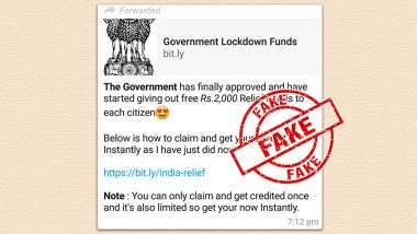 Government of India Approved Free Rs 2000 Relief Fund for Each Citizen? PIB Fact Check Finds Viral WhatsApp Message Fake