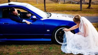 Bride Cleans New Husband's Car Tyres With Her Wedding Dress, Unimpressed Netizens Slam the Couple Online (View Pic)