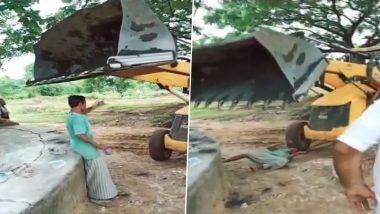 Proclainer Knocks Down Drunk Man in Telangana's Mulugu, Watch Video