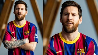 Lionel Messi Shows Off Barcelona's New Home Kit for 2020–21, Fans Shower Argentine With Love (See Reactions)