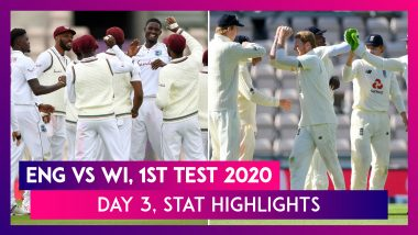 ENG VS WI Stat Highlights, 1st Test 2020, Day 3: Shane Dowrich & Kraigg Brathwaite Give Edge to WI
