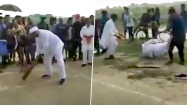 Bihar: RJD MLA Shambhu Nath Yadav Stumbles on Ground While Trying to Strike a Ball, Booked for Attending Cricket Match Amid Lockdown (Watch Video)
