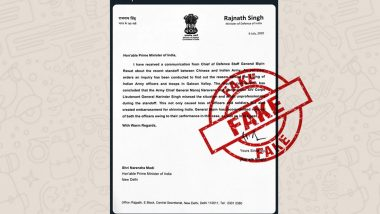 Did Rajnath Singh Write Letter to PM Modi Saying General Bipin Rawat Wants Removal of Indian Army Chief, XIV Corps Commander? PIB Fact Check Debunks Fake Viral Message