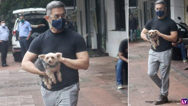 Aamir Khan Gives a Glimpse Of His Lockdown Look As He Steps Out With His Furry Friend in Mumbai (View Pics)