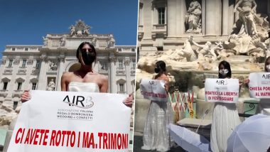 Women Dressed as Brides Protest Against Postponed Weddings in Rome Owing to COVID-19 Pandemic, Pose With Placards Reading 'You Broke Our Marriages' (Watch Video)