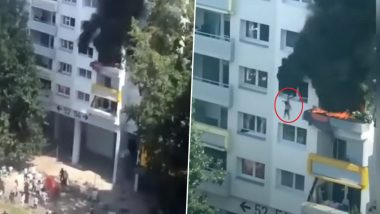 Brothers Jump Off 33 Feet From Window After House Catches Fire in France's Grenoble, Saved by Onlookers in Dramatic Rescue (Watch Video)