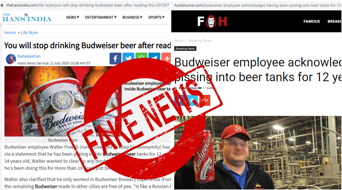 Beer lovers, if you have been reading about the news of Budweiser employees pissing into beer tanks and freaking out, then do not! As it is fake news