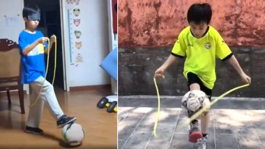 Chinese Boy Juggles Football While Rope-Skipping Blindfoldedly, His Incredible Talent Praises Online