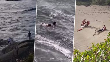 Wedding Photoshoot Fail! Californian Couple Swept Off Rocks Into Sea After Huge Wave Crashes Them While Posing For Pics, Rescued by Lifeguards (Watch Scary Video)