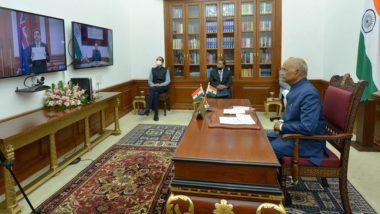President Ram Nath Kovind Accepts Credentials from Envoys from New Zealand, UK, Uzbekistan Via Video Conference