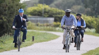 UK PM Boris Johnson Rides Made-in-India Hero Bike at Launch of Cycling Drive Aimed at Govt's Anti-Obesity Strategy to Combat COVID-19