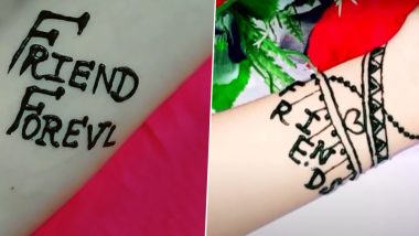 Friendship Day 2020 Mehendi Designs: Apply These Cute Mehndi Designs & Indian Henna Patterns on Your Palms And Surprise Your BFF! (Watch Videos)