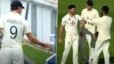 James Anderson Maintains Social Distancing While Celebrating Fall of Wickets During Intra-Squad Match, Uses Sanitiser Between Overs (Watch Video)