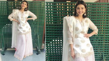 Kajal Aggarwal Goes Traditional Chic in Ivory!