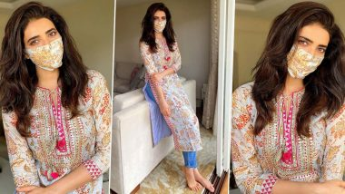 Karishma Tanna Goes Matchy-Matchy With Her Gopi Vaid Kurta and Mask, Adopting the New Normal in Style!
