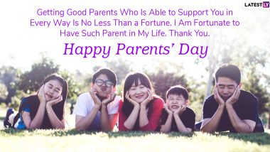 Happy Parents Day 2020 HD Images & Greetings for Free Download Online: Celebrate Parents' Day With WhatsApp Stickers, GIF Messages, Quotes, HD Wallpapers and Sweet Wishes