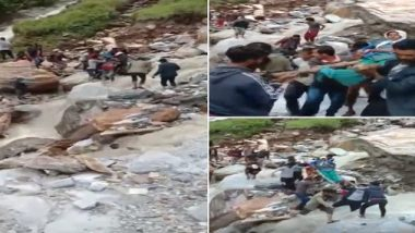 Uttarakhand: Pithoragarh's Villagers Carry Patient to Hospital on Makeshift Stretcher After Landslide and Rainfall, Video Goes Viral