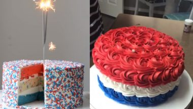 Fourth of July 2020 Cake Ideas: From Rosette Cake to Confetti Cake, Sweet Colourful Delights to Bake at Home During COVID-19 Lockdown (Watch Videos)