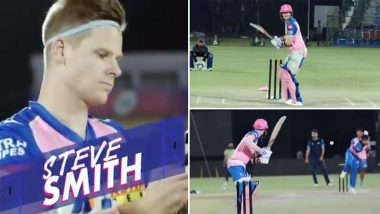 IPL 2020 Update: Rajasthan Royals Share Throwback Video of Captain Steve Smith Smashing Sixes During Net Session; Fans React