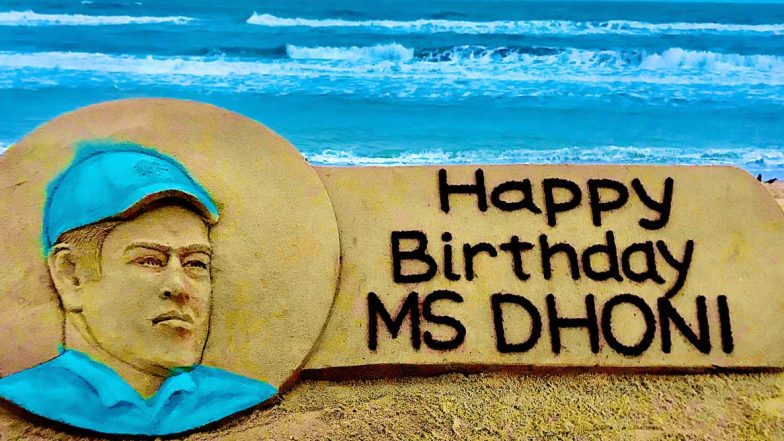 MS Dhoni Birthday: Sudarsan Pattnaik Pays Tribute to Former Indian Captain With His Amazing Sand Art (View Post)