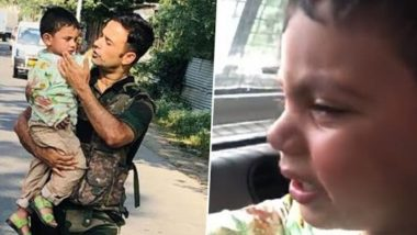Sopore Terrorist Attack: J&K Police Saves 3-Year-Old From Getting Hit by Bullet, Heart Wrenching Video Shows Police Consoling Crying Child