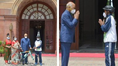 President Ram Nath Kovind Gifts Racing Bicycle to Budding Cyclist Riyaz, a Class 9 Student, Who Also Works at a Ghaziabad Eatery