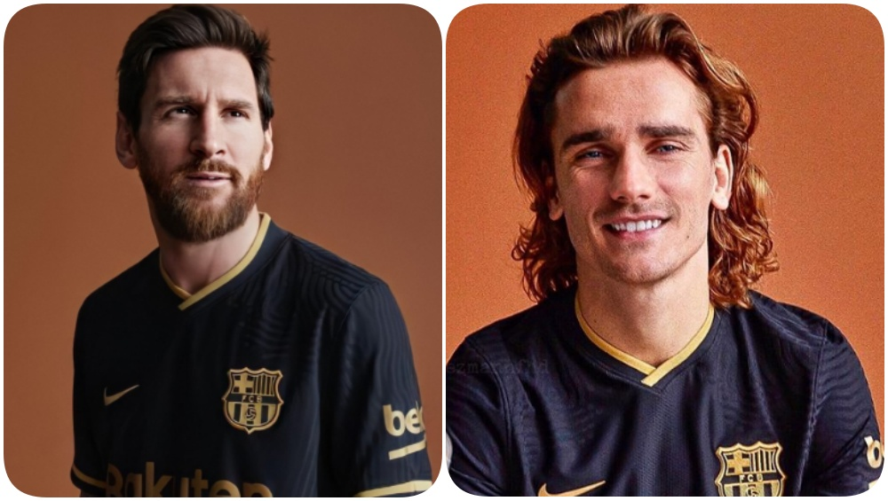 lionel messi antoine griezmann model for barcelona away kit for la liga 2020 21 fans say it s copied from kaizer chief read tweets latestly barcelona away kit for la liga 2020 21