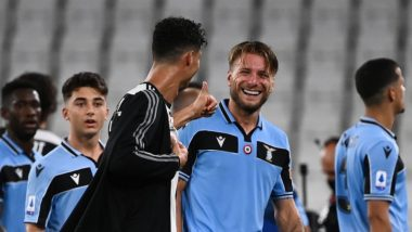Cristiano Ronaldo Hugs Ciro Immobile After Juventus vs Lazio, Serie 2019-20 As Both Players Reach 30-Goal Match in the League (Watch Video)