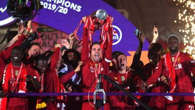 Liverpool FC Lift EPL 2019-20 Trophy at Anfield Shining Bright With Fireworks! View Pics & Videos of Jürgen Klopp, Mohamed Salah, Team Liverpool & The Reds Fans Celebrate the Historic Win in 30 Years