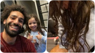 Mohamed Salah Gets Pampered by Daughter Makka as She Offers Him a Massage After a Hard Training Session in The Gym, Daddy Salah Thanks Her! (Watch Video)