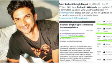 Fact Check: Was Sushant Singh Rajput's Wikipedia Edited Before His Suicide, as Claimed by Twitterati? Here's the Truth!