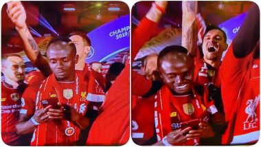 Sadio Mane Scrolls his Phone Constantly as Liverpool Celebrate EPL 2019-20 Win, Irritated Netizens Ask Him to Put Away His Phone (Read Tweets)