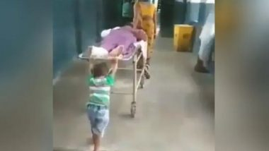 Uttar Pradesh: 6-Year-Old Boy Pushes Grandpa's Stretcher at Deoria District Hospital, Admin Removes Ward Boy After Video Goes Viral