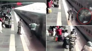 RPF Personnel in Maharashtra Saves Passenger From Running Over by Train at Kalyan Railway Station; Watch Video