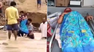 Telangana: Pregnant Woman in Gundala Carried to Hospital on Shoulders Through Water Stream As Bridge Gets Washed Away Due to Heavy Rainfall; Watch Video