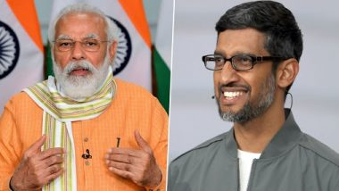 PM Narendra Modi Speaks With Google CEO Sundar Pichai, Talks About Leveraging Technology to Transform Lives of India's Farmers and Youth