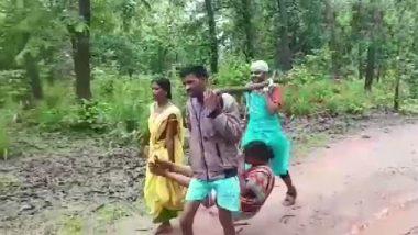 Chhattisgarh: Pregnant Lady in Kondagaon Taken to Hospital in Makeshift Basket After Ambulance Fails to Reach Village; Watch Video