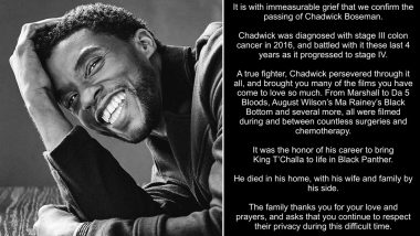 Chadwick Boseman Dies at 43: Fans Mourn Black Panther Actor's Demise on Jackie Robinson Day, Tweet 'Wakanda Forever'