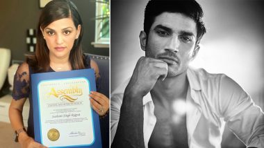 Sushant Singh Rajput Honoured by California State Assembly for His Contribution in Cinema; Shweta Singh Kirti Displays the Certificate