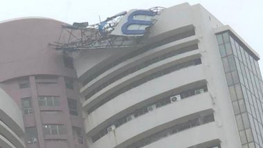 Mumbai Rains: Signage on Top of BSE Building Toppled Due Strong Winds And Incessant Showers (View Pic)