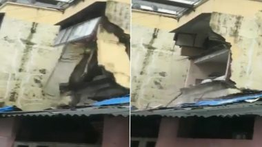 Mumbai Rains: Portion of Building Collapses in Dadar, No Injuries Reported (Watch Video)