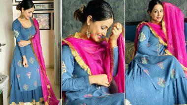 Raksha Bandhan 2020: Hina Khan Swirls in Swishy Blue And Her Outfit Aces the Fashion Meter!