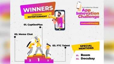 CaptionPlus, Meme Chat, FTC Talent Win Aatma Nirbhar App Challenge in Entertainment Category; Boom And Docubay Get Special Mention