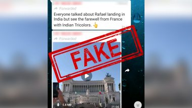 Did France Pay 'Tricolour Farewell' to Rafale Jets Sent to India? Fact-Check Reveals Viral Video is of Italy's Independence Day Celebrations