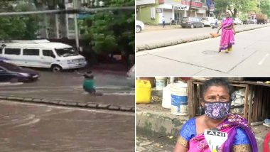Mumbai Woman Stands in Rain For 7 Hours to Alert Drivers About Open Manhole, Says 'BMC Scolded Me For This' (Watch Video)
