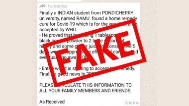 Pondicherry University Student Found Home Remedy Cure for COVID-19 Approved by WHO? PIB Fact Check Debunks Fake News
