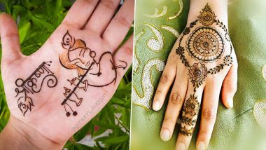 New Janmashtami 2020 5-Minute Simple Mehendi Designs: Krishna Portrait and Rajasthani Style Mehndi Pattern Images and Tutorials to Celebrate Gokulashtami