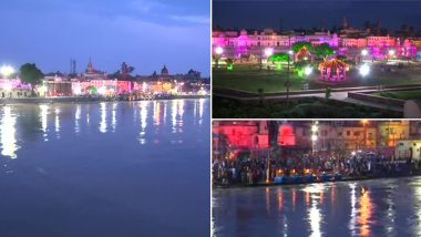 Ram Temple Bhoomi Pujan: Several Places in Ayodhya Illuminated Ahead of Foundation Stone Laying Ceremony on August 5 (Watch Video)