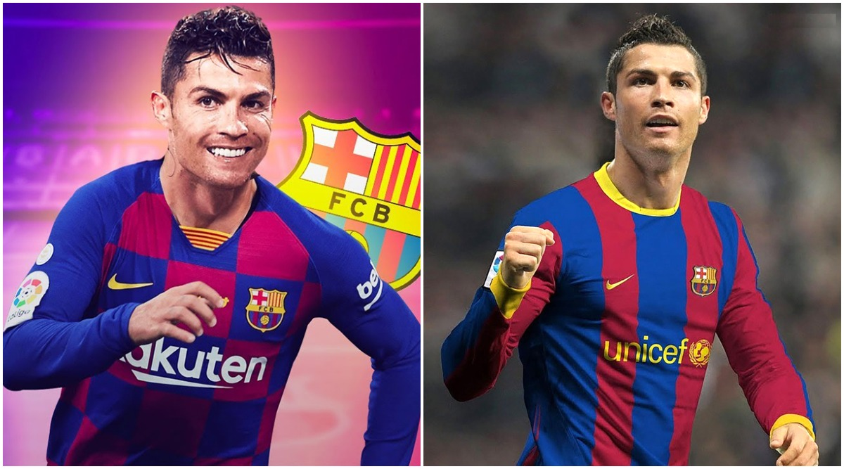 Cristiano Ronaldo In Barcelona Jersey Fan Made Images Hd Wallpapers Of The Portuguese Superstar In Red And Blue Will Leave You In Splits Latestly