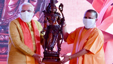 Ram Mandir Bhumi Pujan: UP CM Yogi Adityanath Presents Idol of Lord Ram to PM Narendra Modi